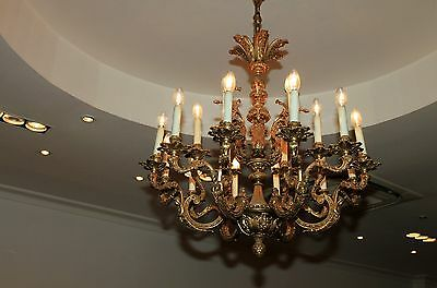 Vintage large French bronze chandelier 6 arm 18 lights Caryatides Incredible nic