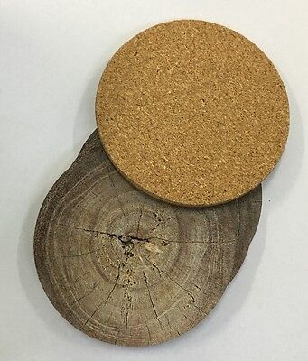 10CM Wood Looking Contemporary Round Coaster Set of 4 Coasters Cork Bottom