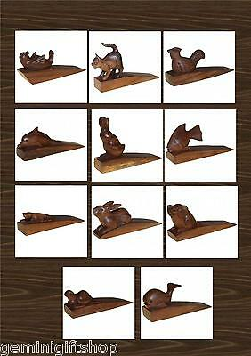 Hand Carved Wooden Doorstops - 11 Animal Designs To Choose From