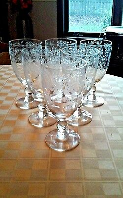 """6 Excellent Duncan Miller FIRST DATE Clear Etched 6 1/2"""" Iced Tea Goblets"""