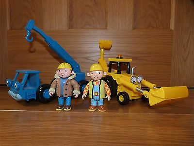 Bob the Builder figures (summer and winter) with Lofty and Scoop - VGC