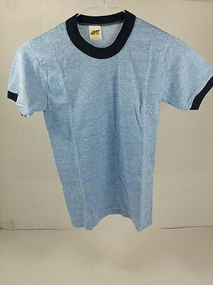 Vintage Youth Small Rayon Russell Athletic Heather Blue Navy Ringer T-shirt