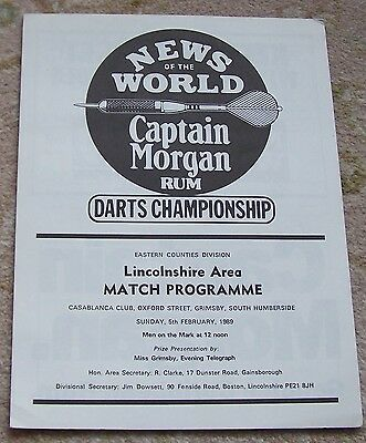 VERY RARE News of the World  DARTS Regional PROGRAMME LINCOLNSHIRE 1989