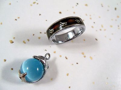 Dolphin pendant AND Size 7 Dolphin Mood Changing Ring with double dolphins COOL