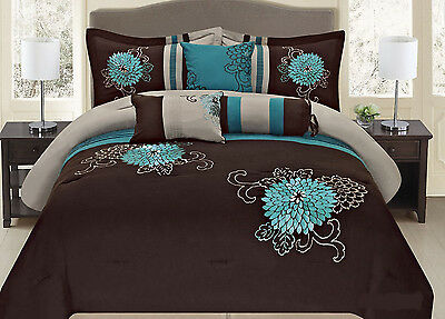 Fancy Linen 7-pc Embroidery Bedding Brown Turquoise Comforter Set