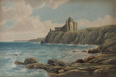 A STEWARD Tantallon Castle, signed original watercolour painting in frame