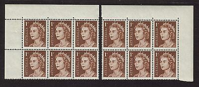 1966 QEII Definitives 1c Left & Right Corner Blocks of 6 From Top of Sheet MUH