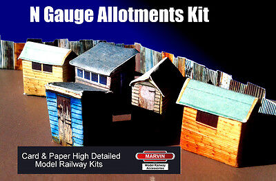 Model Railway N Gauge 1:148 scale Allotments Sheds & Fencing for Scenery