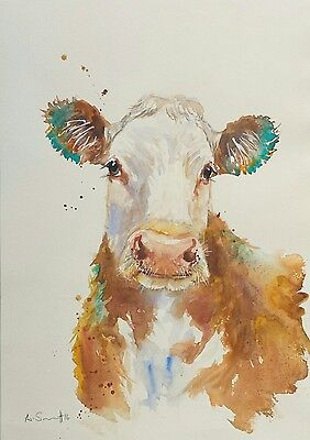 Anna Swift A3 Original Watercolour Painting 'hereford Beauty' Farm Cow