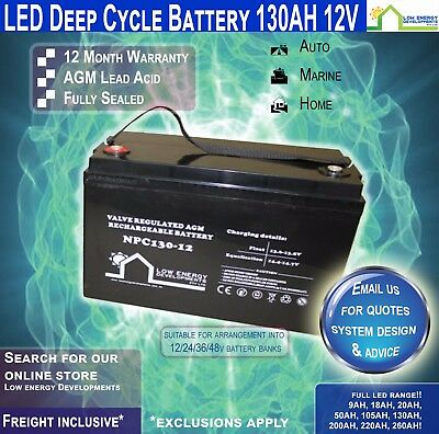 "130AH AMP HOUR BATTERY DEEP CYCLE AGM 130ah 12v ""LED"" (FREE FREIGHT )"