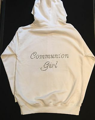 White Diamanté Communion Girl Zip Jacket Hoodie Holy Communion Age 7-8 Years
