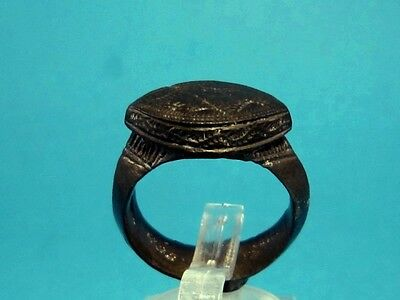 AMAZING MASSIVE AND LARGE BYZANTINE BRONZE RING w/ TOP DECORATION+++
