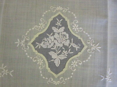 Vintage Madeira 4 Little Guest Towels Organdy Embroidery Lemon Yellow