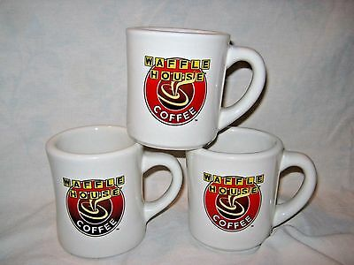 WAFFLE HOUSE 3 HEAVY CERAMIC DINER STYLE COFFEE CUP MUGS (2 50th ANNIVERSARY)