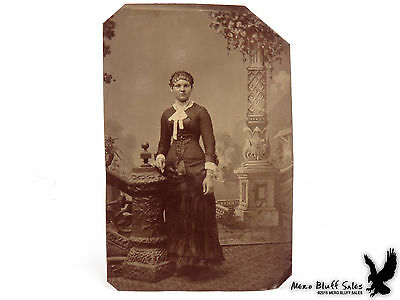 Antique Tintype Sixth Plate Portrait Young Woman Tight Curls Black Gown Ruffles