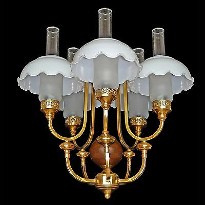 Fabulous French Art Deco Chandelier in Wood/Gold Brass/Opaline and Frosted Glass