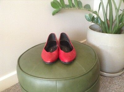 vintage red leather womens shoes size 7 37