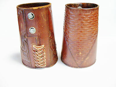 Vintage western cowboy tooled Leather cuffs