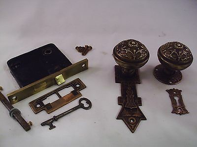 Antique Cast Bronze Door Knob Set Butterfly Plate Mortise Lock 4 sets avail#678