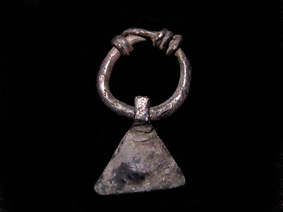 EXTREMELY RARE CELTIC SILVER EARRING with  AXE SHAPED PENDANT+++