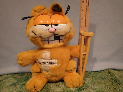 Garfield Plush with Crutches and bandaids   I don't need this