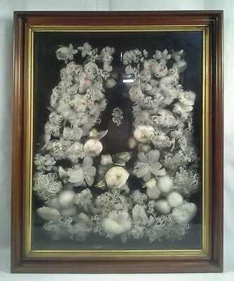 Antique Victorian Feather Wreath In Shadow Box