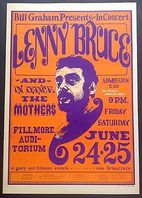 Bg 13-4 Fillmore Poster Lenny Bruce Frank Zappa Mothers Of Invention  Wes Wilson