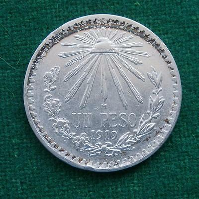 1919 Mexico Silver Coin 1 Peso Radiant Cap  Key Date