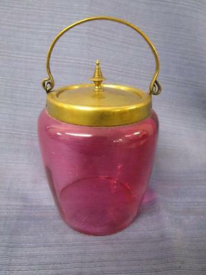 C48024 Beautiful Vintage Cranberry Glass Biscuit Barrel Jar