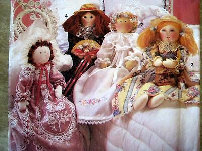 "SEWING PATTERNS~Victorian 28"" Rag Dolls with Gowns~Doll RARE! UNCUT"