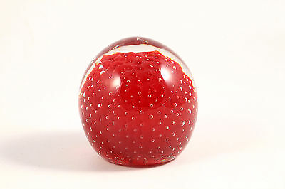 Red Art Glass Controlled Bubble Paperweight Vintage Estate Bullicante