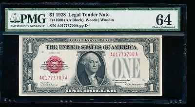 AC 1928 $1 Legal Tender PMG 64 comment UNCIRCULATED red seal Fr 1500