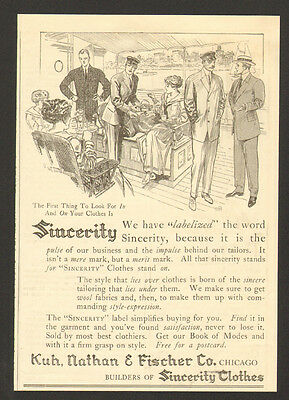 1911 Sincerity Clothing Vintage Print Ad Fashion Chicago Kuh Nathan Fischer