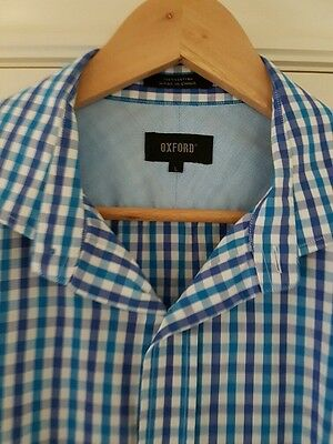 Mens OXFORD Dress Shirt - Great Condition - Blue & White Check - Size L