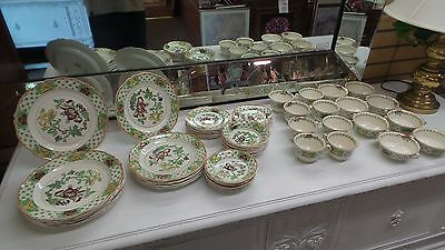 Antique Stanley Woods Ware, Wood & Sons China Set, Green 64 pc. England