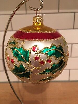 "Radko 1993 ""HOLLY RIBBONS""  Vintage Gold/Red Band w/Holly Retired Ball Ornament"