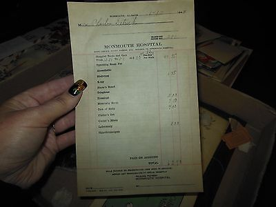 Antique Hospital Bill Billhead/1944/monmouth Hospital/monmouth Ill Baby Delivery