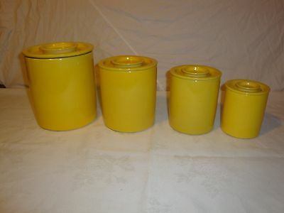 Taylor And Ng San Francisco Yellow Kitchen Cannister Container Set Of 4 Vintage