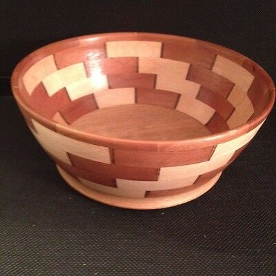 Cherry & Maple Segmented Wooden Bowl With Bocote, Handcrafted