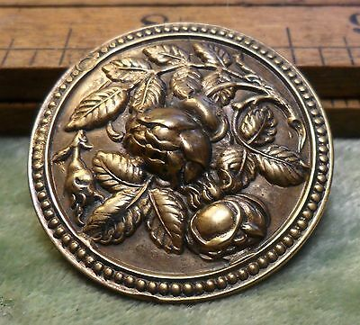 "Lg. 1 1/4"" Brass with Raised Rose Flowe Metal Antique Button 76:14"