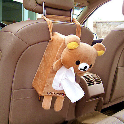 Universal Car Rectangle Tissue Box Cover Holder Paper Bathroom Storage Cute Bear