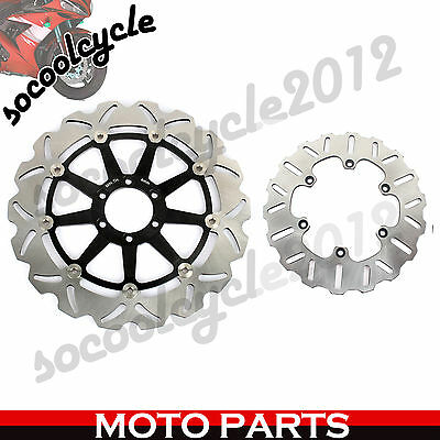 Black Full Set Front Rear Brake Disc Rotor For CAGIVA MITO 500 2007 2008 07 08