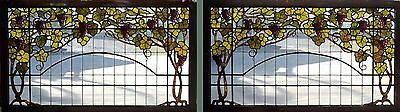 Lg. Pair Antique American Stained Glass Floral Grape Vine Display Cabnet Windows
