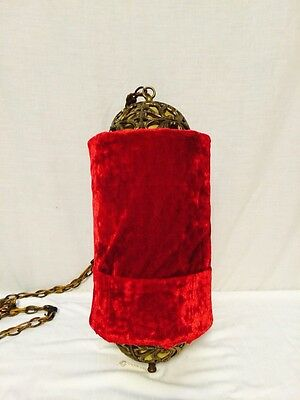 Antique Red Velvet And Cast Brass Hanging Light Fixture