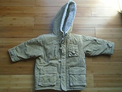 Boys size 24 months Big Chill tan thick fleece lined winter coat