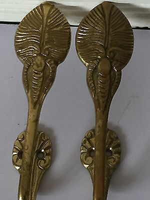 Metal Beetle Bug Design Wall Brass Hooks Hardware Set Of 2 Antique Highly Adorn