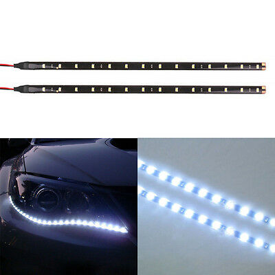 2PC 12 LED 30cm 5050 SMD LED Strip Light Flexible 12V Car Decor Waterproof White