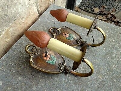Vintage Pair Art Deco Brass Electric Wall Sconce Lamps w Seats Circa 1930