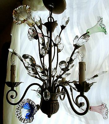 Vtg BRONZE BASKET CHANDELIER MURANO GLASS FLOWERS Prism Leaf 3Arm Morning Glory