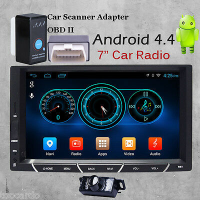 Double 2Din In Dash Android 4.4 Car Radio Audio GPS Navi Stereo Bluetooth+Camera